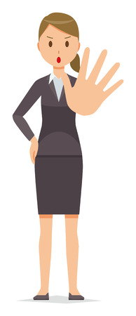 Business woman in suit wears hand out.