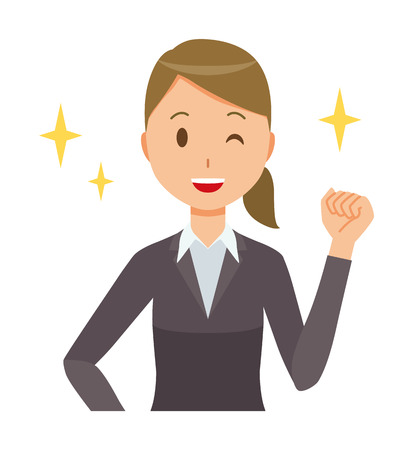 Business woman in suit wears fist.