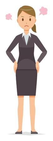 A business woman in a suit is angry. Illustration