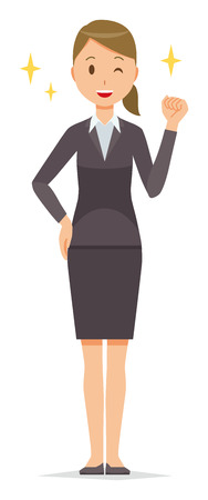 Business woman in suit wears fist.