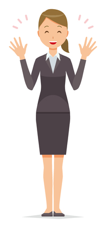 A business woman in a suit is spreading his hands. Illustration