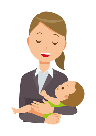A business woman in a suit holds a baby. Illustration