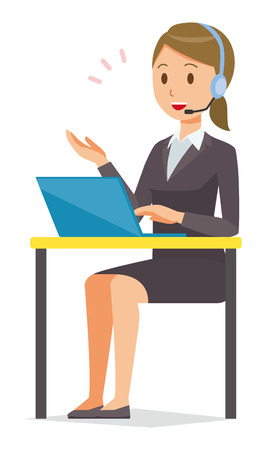 Business woman in suit is talking with headset.