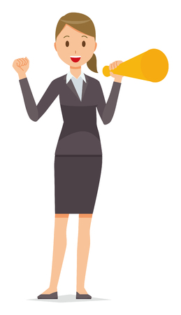 A business woman in a suit has a megaphone.