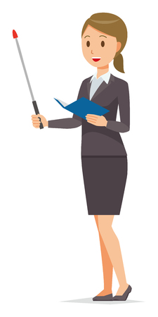 A business woman in a suit has an instruction stick. Illustration