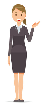 Business woman in suit wears guide.