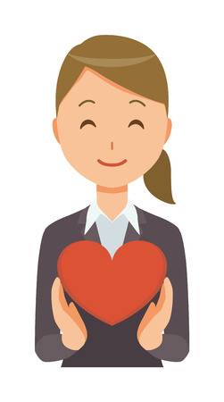 A business woman in a suit has a heart mark.