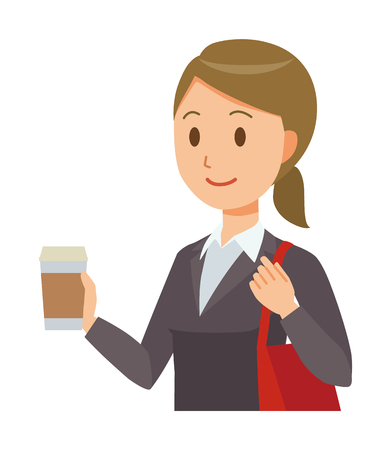 A business woman in a suit has coffee.
