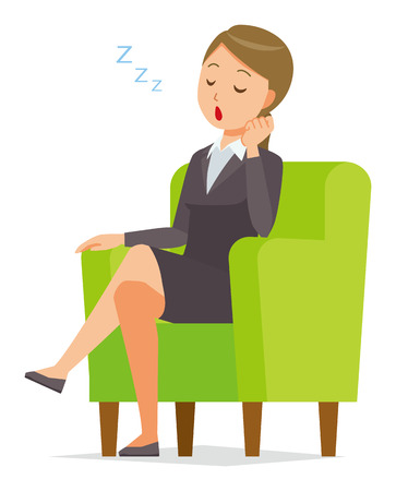 A business woman in a suit is falling asleep sitting on the sofa Illustration