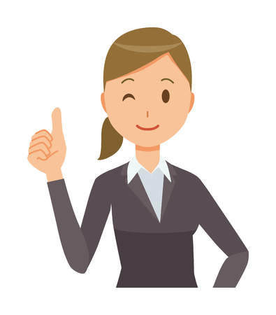 A business woman in a suit is doing a good sign. Illustration