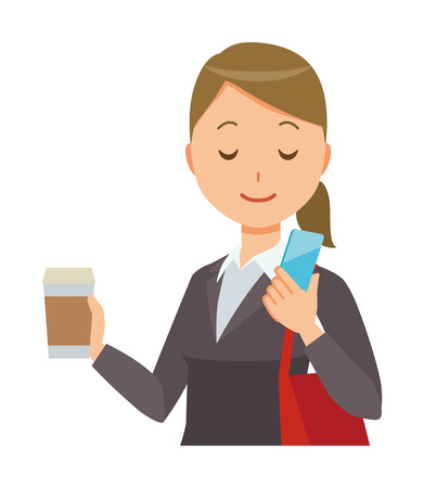 Business woman in suit wears coffee and is manipulating smartphone. Illustration