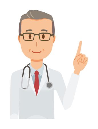 Un médico de mediana edad con un traje blanco apunta a un dedo.