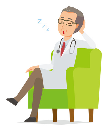 A middle-aged male doctor wearing a white coat is sitting on a sofa and being dozing off