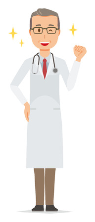 A middle-aged male doctor wearing a white suit is raising his fist Ilustração