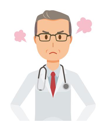 白いスーツを着た中年男性医師が怒っている  イラスト・ベクター素材