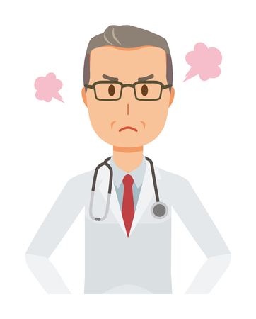 A middle-aged male doctor in a white suit is angry Illustration
