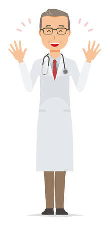 A middle-aged male doctor wearing a white coat is spreading her hands 矢量图像