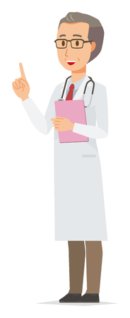 A middle-aged male doctor wearing a white coat points with a file pointing