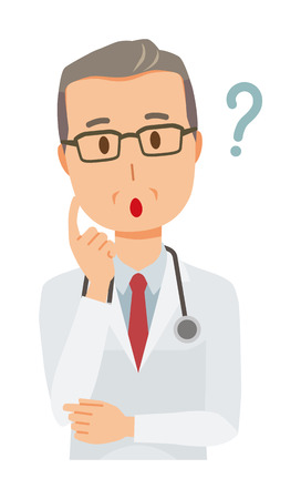 A middle-aged male doctor wearing a white suit wears it Illustration