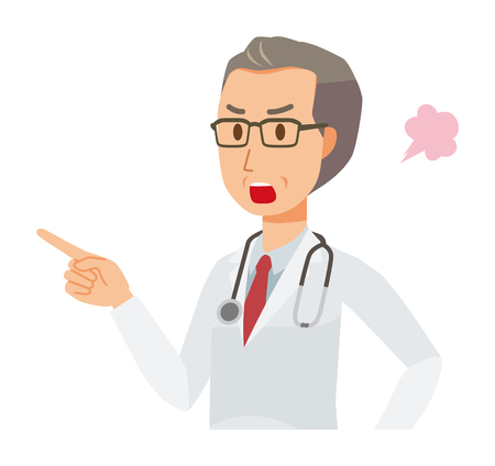A middle-aged male doctor wearing a white suit is angrily pointing to a finger Illustration