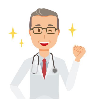 A middle-aged male doctor wearing a white suit is raising his fist Illusztráció