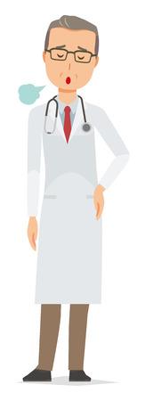 Un médecin d'âge moyen vêtu d'un costume blanc soupire Banque d'images - 92685504
