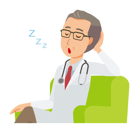 A middle-aged male doctor wearing a white coat is sitting on a sofa and being dozing off.