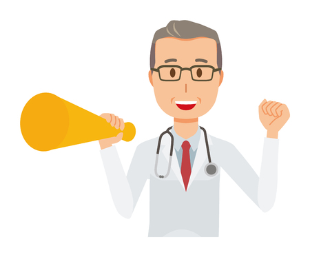 Middle-aged male doctor in white coat has megaphone. Stock Illustratie