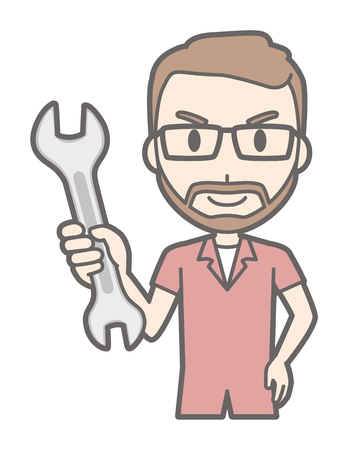 A man who wears glasses and has a beard has a wrench