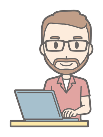 A man who wears eyeglasses and has a beard is operating a laptop computer