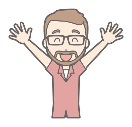 A man raising his beard with glasses raising his hands