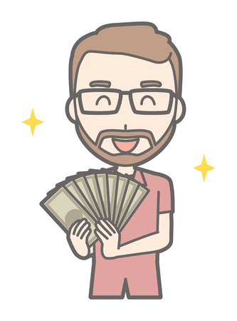 A man who wore glasses and grew beard had a bundle Illustration