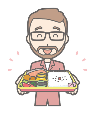 A man who wears eyeglasses and has a mustache has a box lunch Illustration