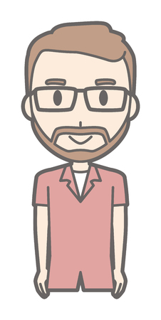 A man with eyeglasses and beard grows standing in front of you Illustration
