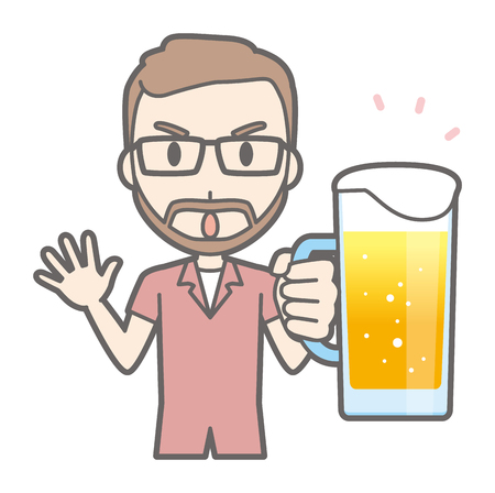 A man with glasses and a beard grows beer Illustration