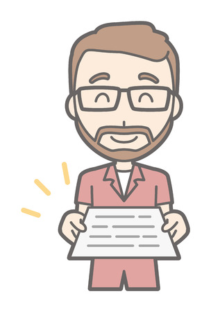 A man who wears glasses and has a beard gives out a document