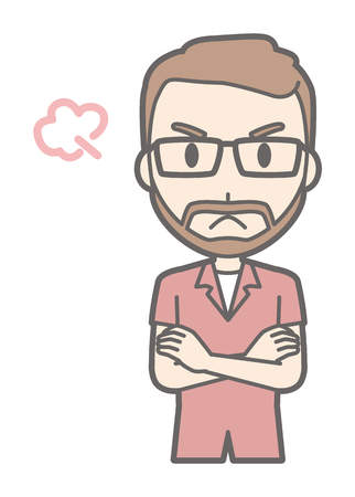 A man who is wearing eyeglasses and growing a beard is angry
