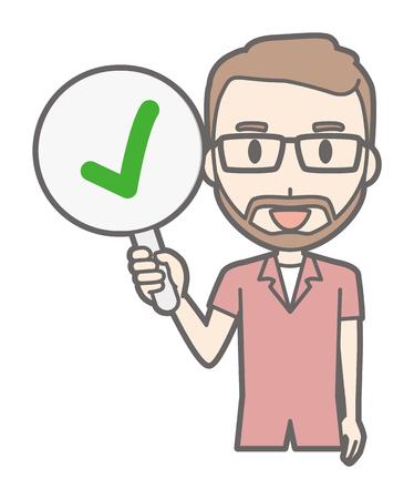 A man who wears eyeglasses and has a beard has a checkmark tag