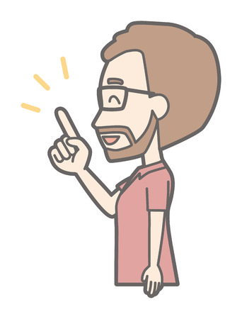 A man who wears eyeglasses and has a beard is pointing sideways and pointing to a finger
