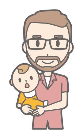 A man who wears glasses and has a beard hugs a baby
