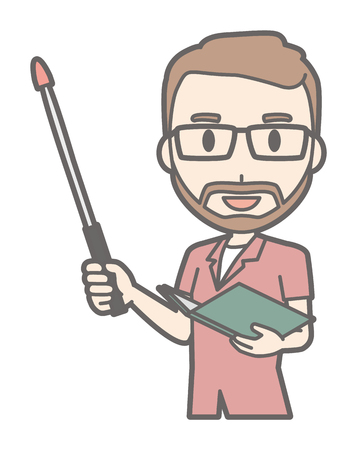 A man with glasses and a beard grows a guy stick Illustration