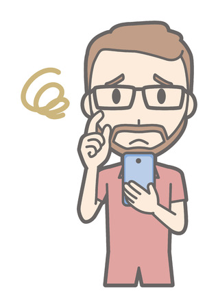 A man who wears eyeglasses and has a mustache is troubled by operating a smartphone. Illustration