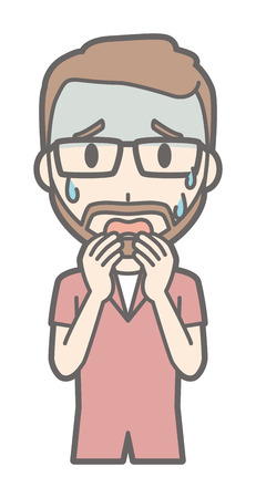 A man who is wearing eyeglasses and growing beards is afraid. Illustration