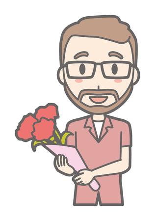 Men with glasses and beards have flowers bouquets.
