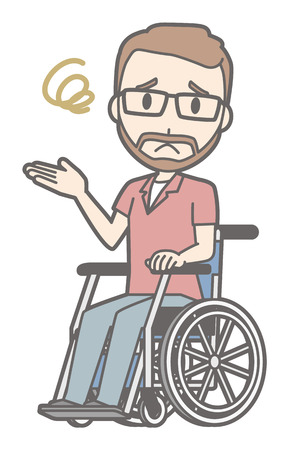 A man who wore glasses and had a mustache was having trouble sitting on a wheelchair. Illustration