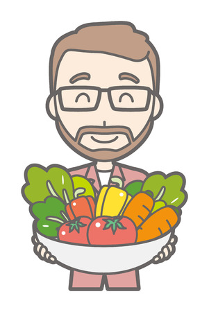 A man with glasses and a beard grows vegetables.