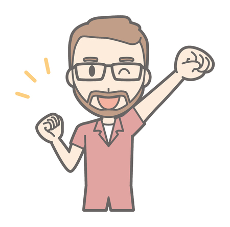 A man with a pair of glasses and a beard grows a fist with a smile. Illustration