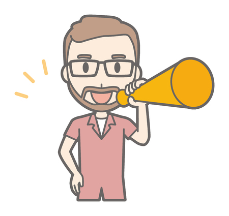 A man who has worn glasses and has a beard has a megaphone. Illustration