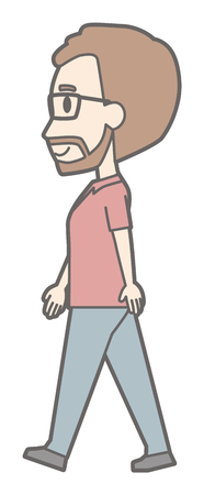 A man with glasses and beard grows walking sideways.