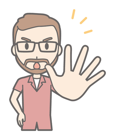 A man with a pair of eyeglasses and a beard grows out one hand.